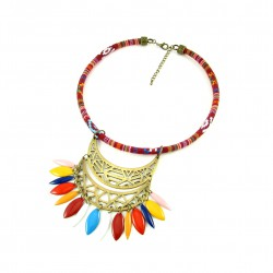 Collier plastron ethnique bronze cordon tissé rouge et multicolore